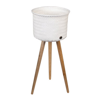 Up Round Basket with Wooden Feet - White
