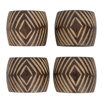 Tribal Wooden Napkin Ring - Set of 4
