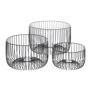 Black Wire Baskets - Set of 3