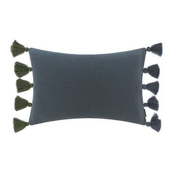 Knitted Pom Pom Trim Cushion - 40x60cm - Blue & Green