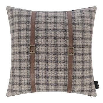 Tartan Cushion With Leather Strap Details - 45x45cm
