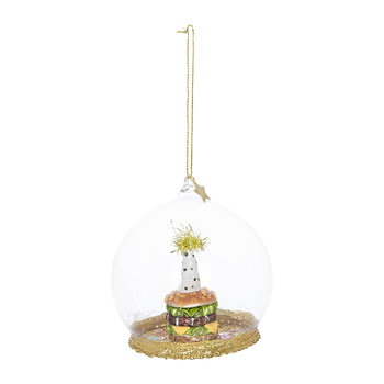 Hamburger with Party Hat Bauble