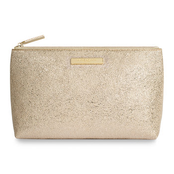 Mia Metallic Make Up Bag - Gold