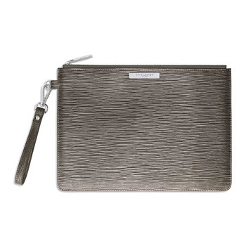 Zara Metallic Clutch Bag - Mocha