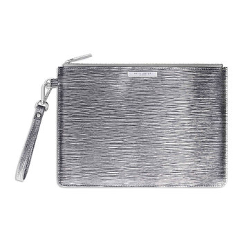 Zara Metallic Clutch Bag - Silver