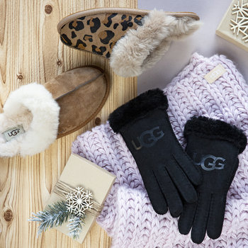Women's Sheepskin Logo Glove - Black