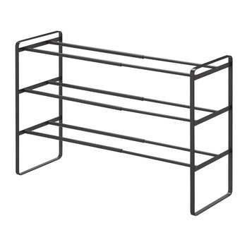 Frame Three Tier Extendable Shoe Rack - Black