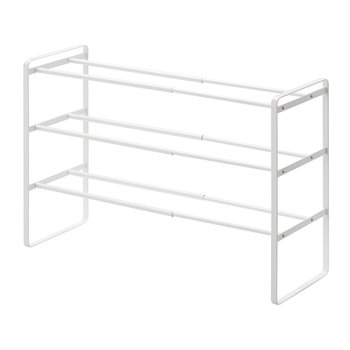 Frame Three Tier Extendable Shoe Rack - White