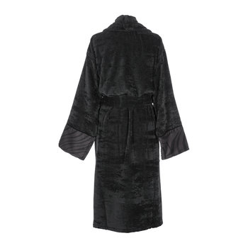 Macro Zebrage Bathrobe - Dark Grey