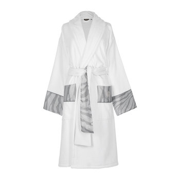 Macro Zebrage Bathrobe - White/Pearl