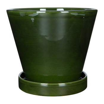 Julie Plant Pot and Saucer - Green