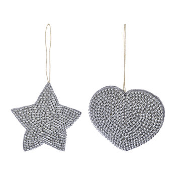 Beaded Embroidred Heart/Star Tree Decoration - Set of 2 - Gunmetal