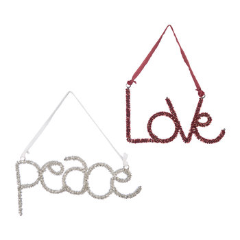 Beaded Peace/Love Decoration - Set of 2 - Red