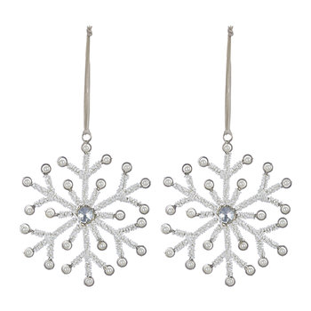 Beaded Snowflake with Jewels Tree Decoration - Set of 2