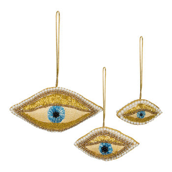 Beaded Eyes Tree Decoration - Set of 3