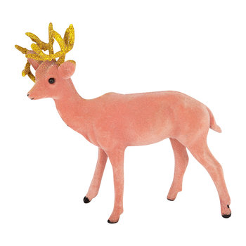 Flocked Reindeer Tree Decoration - Set of 3 - Pink