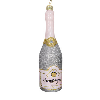 Glittered Champagne Bottle Tree Decoration - Silver