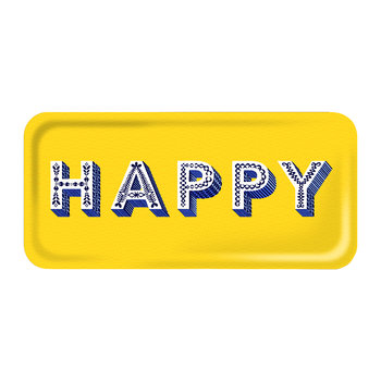 'Word' Rectangular Tray - Happy