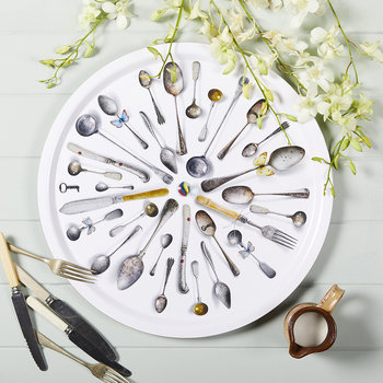 'Cutlery' Round Tray - White