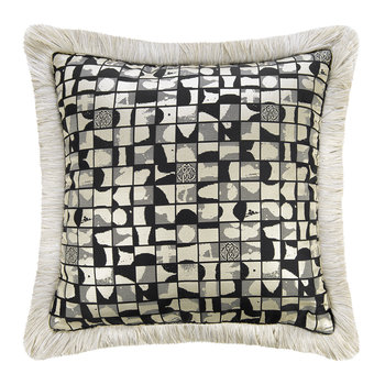 Mosaico Jacquard Pillow - Black/Platinum