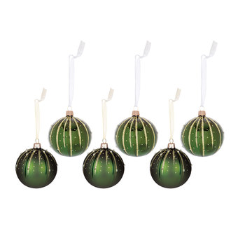 Glitter Line Drops Bauble - Set of 6 - Pine Green