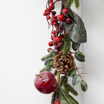 Frosted Red Berry and Fruit Fir Garland