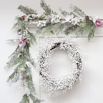 White Glitter Berry and Twig Wreath