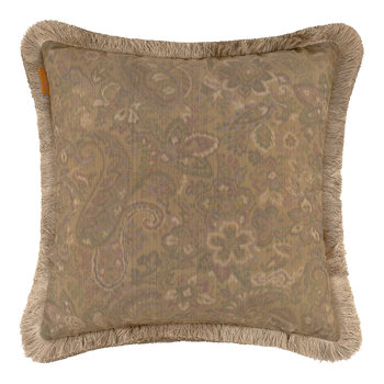 Hokkaido Akan Pillow with Trims - 45x45cm - Beige/Gold