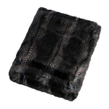 Faux Fur Throw - Signature Black Quail