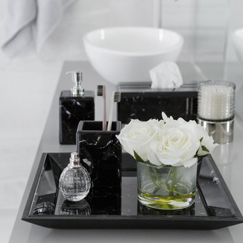 Marble Look Toothbrush Holder - Black