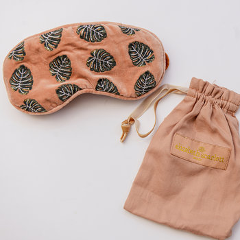 Jungle Leaf Velvet Eye Mask - Copper