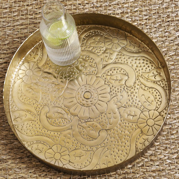 Floral Decorative Metal Round Tray