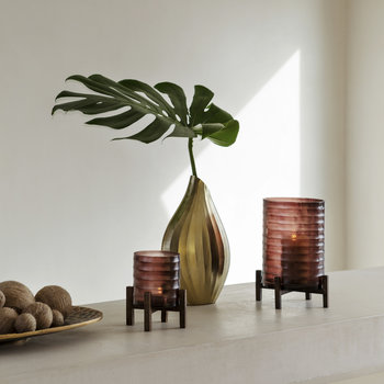 Ribbed Glass Hurricane With Wooden Stand - Small