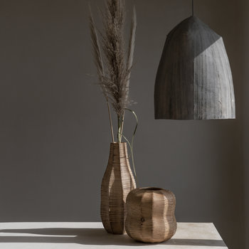 Tall Wicker Effect Wooden Vase