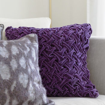 Abstract Textured Cushion - Purple