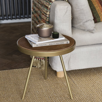 Cowhide Side Table - Tan