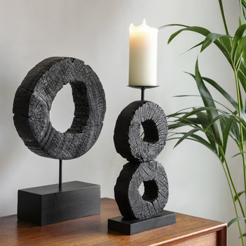 Charred Log Candle Stand