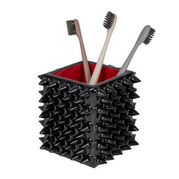 Spikes Toothbrush Holder - Black/Red