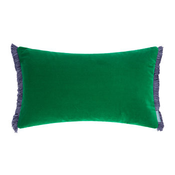 Velvet Fringe Reversible Cushion - 50x30cm - Emerald