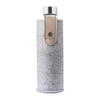 Mismatch Water Bottle with Felt and Faux Leather Holder - Sand Sky