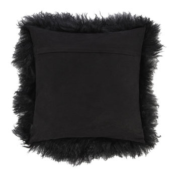 Tibetan Sheepskin Pillow - 40x40cm - Black