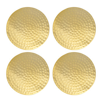 Flat Hammered Gold Coasters - Set of 4