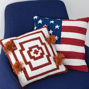 Hypnotic Pom Pom Cushion - 40x40cm - Orange Red