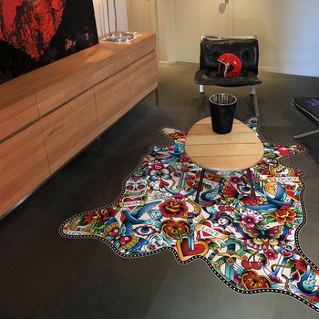Tattoo Vinyl Floor Mat - Multi