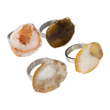 Natural Agate Napkins Rings - Set of 4