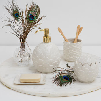 Round Peacock Soap Dispenser - White