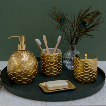 Round Peacock Soap Dispenser - Gold