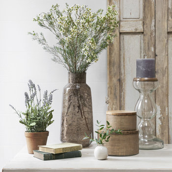 Etched Glass Jar With Wooden Lid - Large