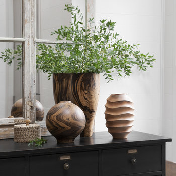 Wood Swirl Sphere Vase