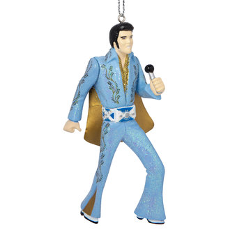 Elvis Tree Decoration - Set of 2 - Blue Suit with Microphone